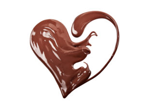 Artful pic of chocolate swirl into the shape of a heart