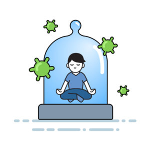 Boy meditating under the glass dome with viruses flying around.